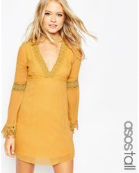 ASOS | Yellow Tall Skater Dress With Lace Inserts And Fluted Sleeve | Lyst