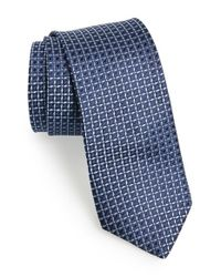 Michael Kors | Blue 'lattice' Geometric Silk Tie for Men | Lyst
