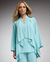 Natori - Blue Jersey Waterfall Cardigan - Lyst
