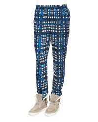 Thakoon Addition - Blue Cropped Plaid Trousers - Lyst