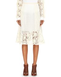 See By Chloé - White Embroidered Patchwork Skirt - Lyst