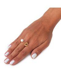 Leivan Kash - Metallic Gol Pearl Ring Gold - Lyst