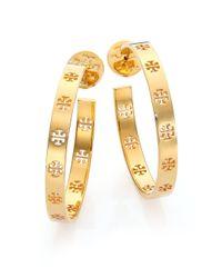 Tory Burch | Metallic Pierced T Logo Hoop Earrings/2 | Lyst