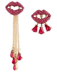 Betsey Johnson | Gold-tone Pink Pavé Vampire Lips Mismatch Earrings | Lyst