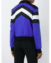 MSGM | Blue Panelled Zip Jacket | Lyst