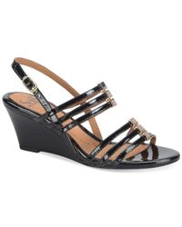 Söfft | Black Posh Wedge Sandals | Lyst