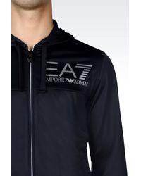 EA7 - Blue Visibility Line Full Zip Hooded Sweatshirt for Men - Lyst