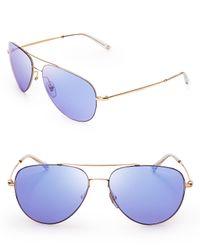 Gucci Metallic Mirrored Aviator Sunglasses