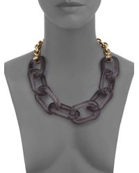 Kenneth Jay Lane Metallic Translucent Link Statement Necklace
