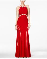 Xscape - Red Illusion Striped Halter Gown - Lyst