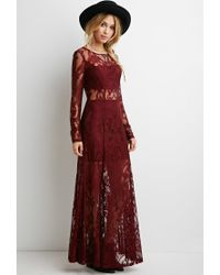 Forever 21 - Purple Floral Lace Maxi Dress - Lyst