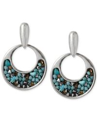 Kenneth Cole | Blue Silver-tone Teal Bead Small Gypsy Hoop Earrings | Lyst