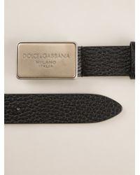 Dolce & Gabbana - Black Logo Plaque Buckle Belt for Men - Lyst