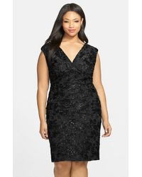 Marina | Black Embroidered Rosette Sequin Lace Double V-neck Sheath Dress | Lyst