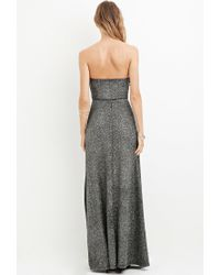 Forever 21 - Gray Strapless Glitter Knit Maxi Dress You've Been Added To The Waitlist - Lyst