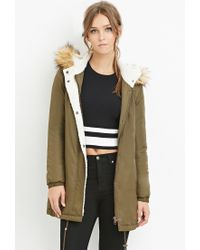 Forever 21 - Green Hooded Faux Shearling Parka - Lyst