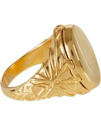 Harlot & Bones | Metallic Gold-Plated Poison Signet Ring | Lyst