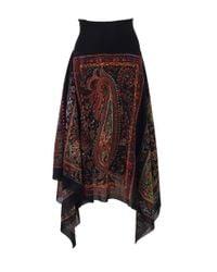 Fuzzi Red Handkerchief Print Skirt