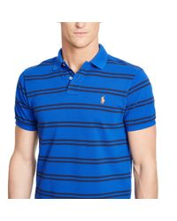 Polo Ralph Lauren - Blue Custom-fit Striped Mesh Polo for Men - Lyst