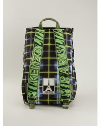 KENZO Multicolor 'neon Plaid' Backpack for men