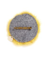 Yves Salomon | Yellow Fox Face Fur Pin Badge | Lyst