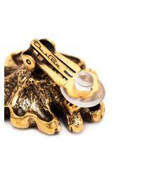 Oscar de la Renta Black Orchid Enamel Clip Earrings