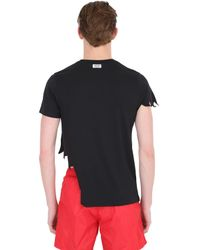 Moschino Black Warning Printed Cotton T-Shirt for men