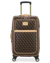 """Guess Brown Logo Affair Dlx 21"""" Carry-on Spinner Suitcase for men"""