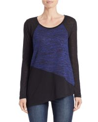 DKNY | Blue Marled Colorblock Sweater | Lyst