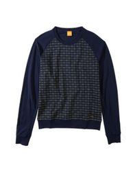 BOSS Orange Blue Cotton Sweatshirt 'Wantos' for men