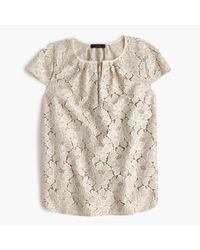J.Crew | Gray Tall Cap-sleeve Floral Lace Top | Lyst