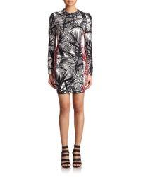 Elizabeth and James Black Mailyn Bicolor Palm-Print Dress