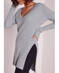 Missguided | Gray V Neck Knitted Rib Tunic Grey | Lyst