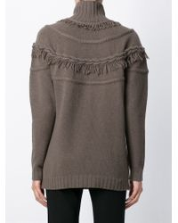 Agnona - Brown Frayed Collar Sweater - Lyst