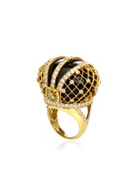 Sybarite - Black Three-Dimensional Crown Ring In 18K Yellow Gold - Lyst
