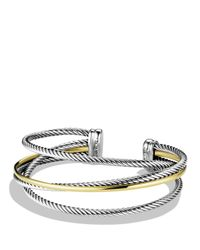 David Yurman | Metallic Crossover Three-row Cuff With Gold | Lyst