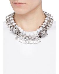 Venna Metallic Crystal Jaguar Head Marbled Chain Link Necklace