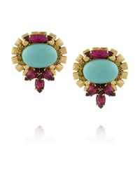 Elizabeth Cole Blue Goldplated Crystal and Cabochon Earrings