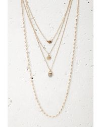 Forever 21 - Metallic Layered Faux Stone Beaded Necklace - Lyst