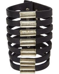 Rick Owens | Black Leather Cuff With Bars | Lyst
