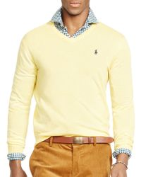 Pink Pony Yellow Polo Slim-fit Merino V-neck Sweater for men