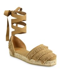 Castaner Brown Phoebe Feathered Canvas D'orsay Espadrille Flats