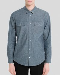 Sandro Blue Worker Chambray Button Down Shirt - Slim Fit for men