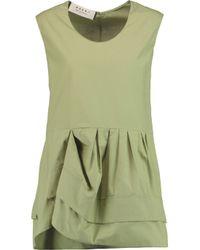 Marni Green Pleated Cotton Top