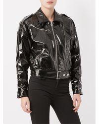 Saint Laurent Black Patent Effect Biker Jacket