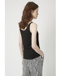 TOPSHOP - Black Cotton Jersey Blend Vest - Lyst