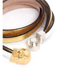 Alexander McQueen Metallic Triple Strap Skull Leather Bracelet