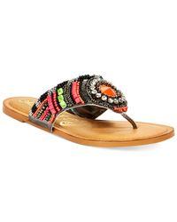 Naughty Monkey Purple Electric Shine Embellished Thong Sandals