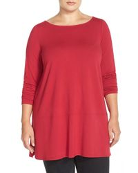 Eileen Fisher | Red Long Bateau Neck Jersey Top | Lyst