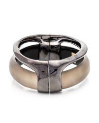 Alexis Bittar - Metallic Ruthenium Stacked Hinged Bracelet - Lyst